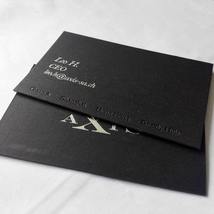 700克三层夹心超厚黑卡烫黑金烫银压凹印名片制作